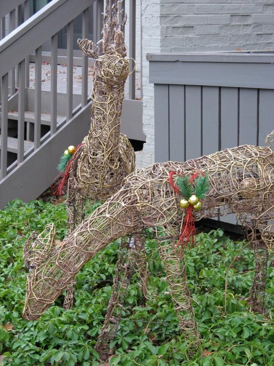 grazing deer statues