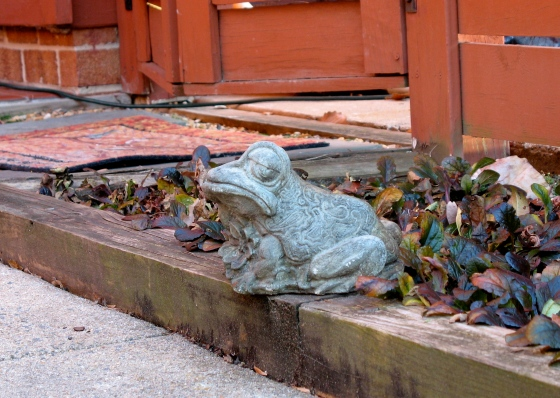 swirled toad statue