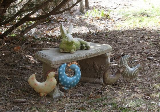 rabbit among chickens