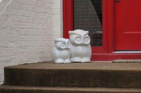 Owl pair wildlife statue