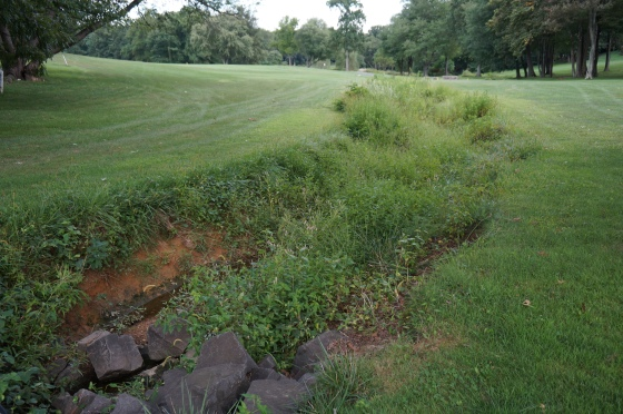 drainage ditch on Reston National Golf Course