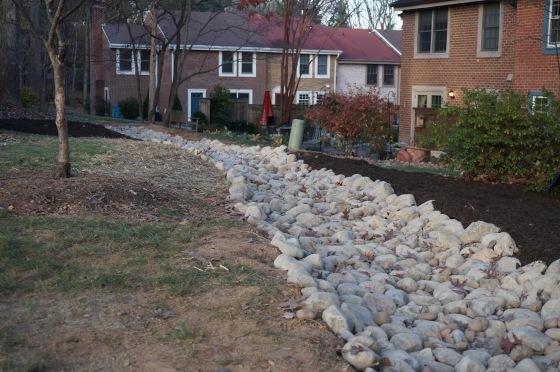 cobblestone drainage ditch