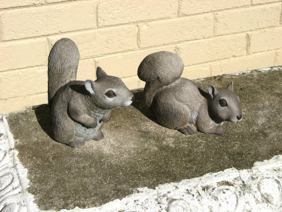 Two squirrels wildlife statue
